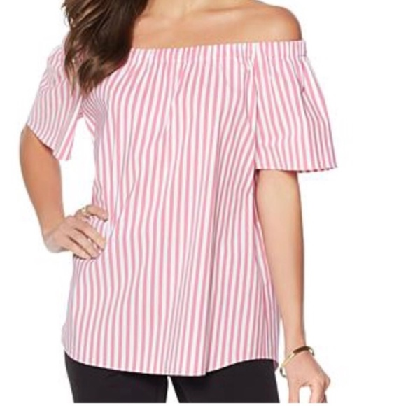 835128c34d224 NWT Vince Camuto Striped off shoulder top size 2X